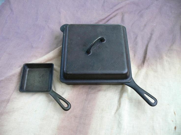 Vintage Griswold Square Meal Skillet Set Cast Iron Cover
