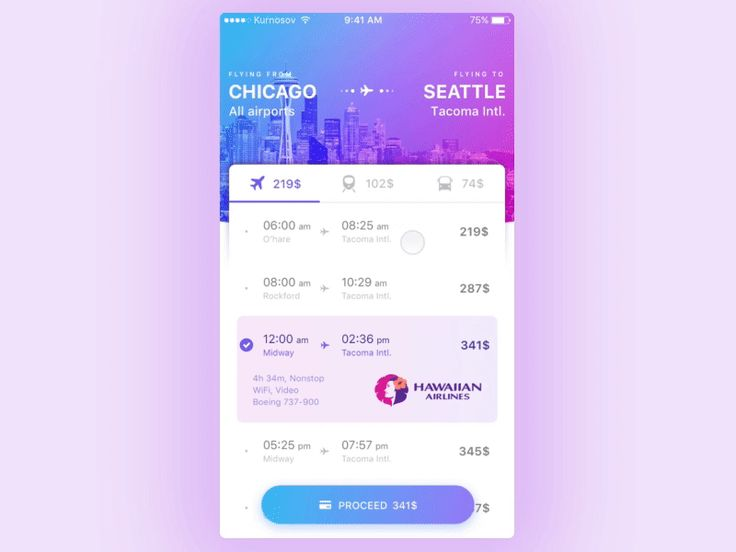 Having fun around with some colors and animation. This is a prototype for mobile ticket ordering application.