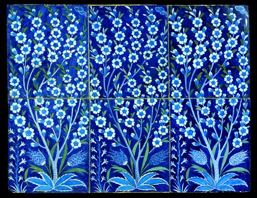Fritware tile panel, painted in blue, turquoise, and moss green under a transparent glaze. Turkey, Iznik; c. 1540 H: 61.2; W: 79 cm. Stunningly beautiful.