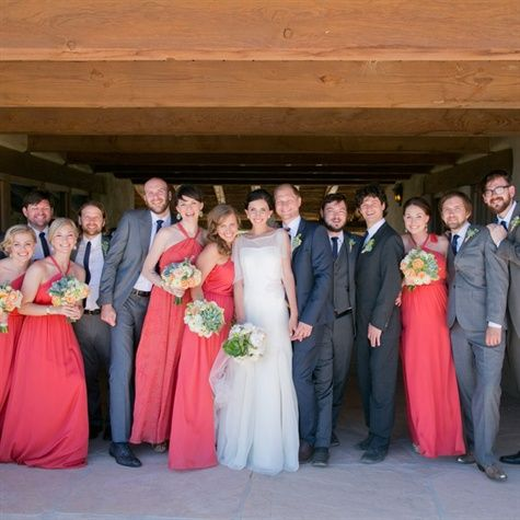 Gray and Coral Bridal Party Attire I don't like the green flowers
