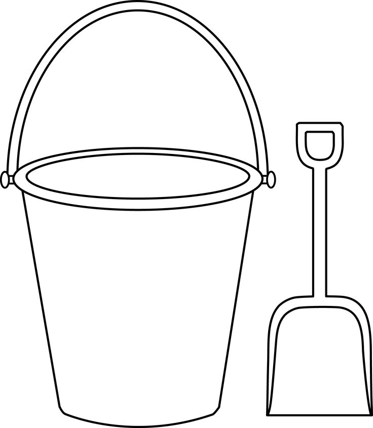 Bucket and shovel outline beach themed classroom pinterest for Sand bucket template