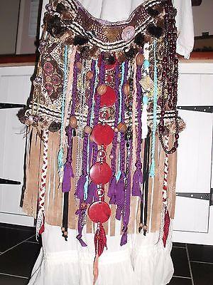 Handmade Festival Ibiza Boho Gypy Hippie Vintage Leather Fringe Tassel Handbag