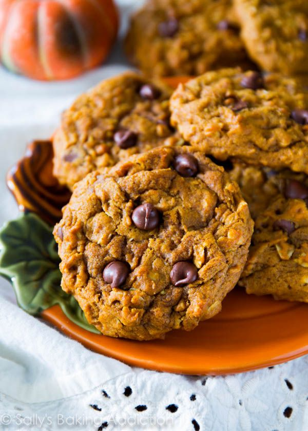 Chewy Pumpkin Chocolate Chip Oatmeal Cookies - the best (non cakey) pumpkin cookies ever!