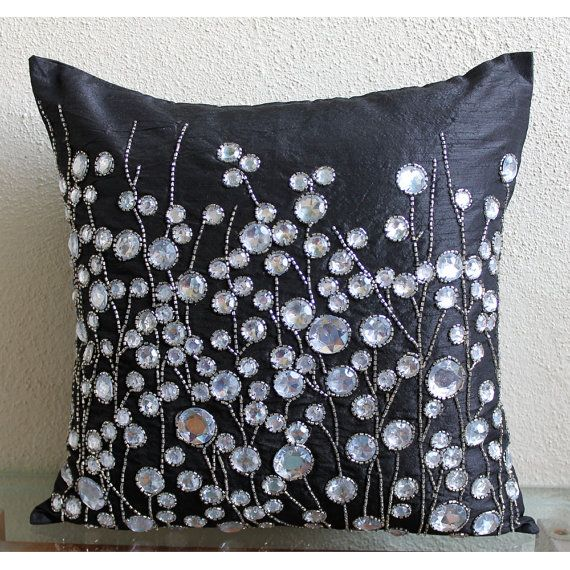 Black Throw Pillows For Bed : Decorative Throw Pillow Covers Accent Pillows Couch Sofa Bed Pillows 16x16 Black Silk Pillow ...