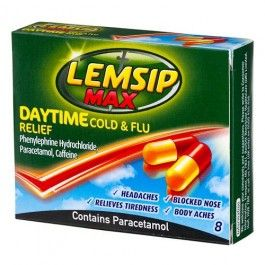Lemsip Max 8 pack provides relief from pain and congestion in a capsule format so that your head can feel clear and focussed again. Always read the label.