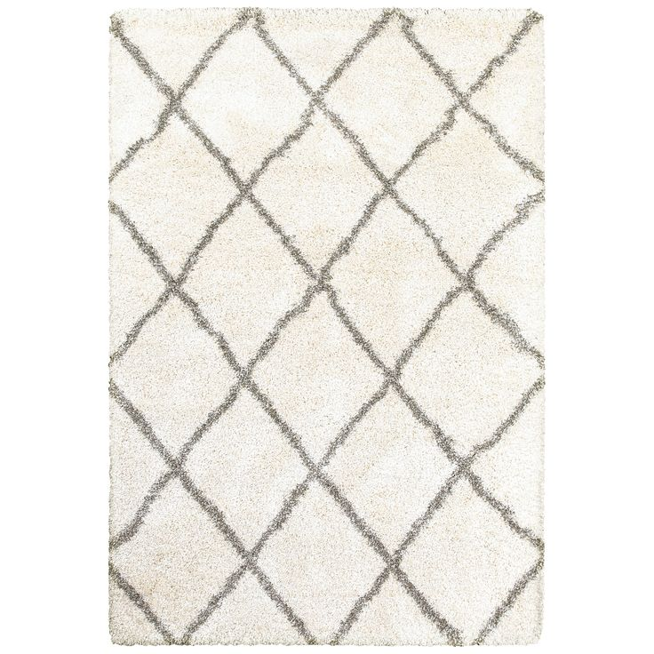 Style Haven Diamond Lattice / Grey Shag Rug