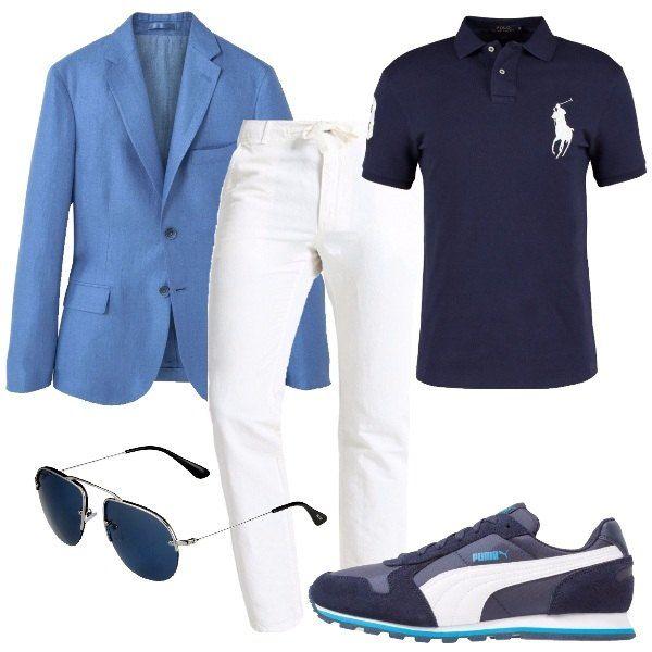I pantaloni bianchi dal tessuto morbido hanno una linea diritta e chiusura con bottone e laccetto. Li abbiniamo alla polo blu dalla linea slim e decori ricamati bianchi e alla giacca azzurra dalla linea aderente a due bottoni. Ai piedi sneakers blu con decori bianchi e azzurri e per finire occhiali da sole con montatura in metallo e lenti blu.