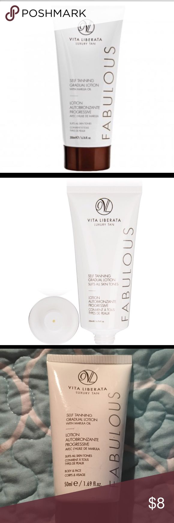 Vita Liberata FABULOUS Self Tanner Description Product Description This ultra-hydrating gradual tan lotion gives a subtle, sunkissed glow. It's gentle enough for dry and sensitive skin types, and creates a natural-looking tan that fades after four to seven days. Certified organic botanicals and a moisture locking system nourish the skin and give 72-hour hydration while Odour Remove technology ensures no smell whatsoever. vita Liberata Makeup