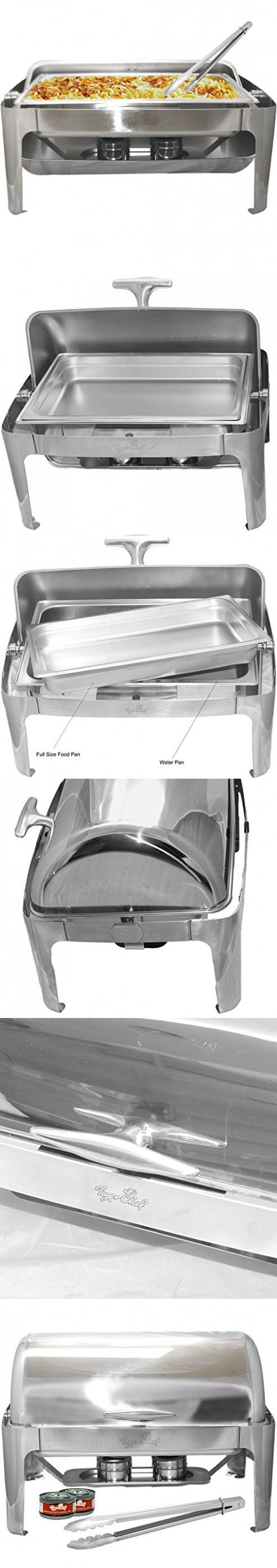 Tiger Chef Stainless Steel Roll Top Chafer, 8 Quart Chafing Dish Set with 2 Chafing Dish Fuel Gels and a 16-Inch Stainless Steel Multi-Function Tong