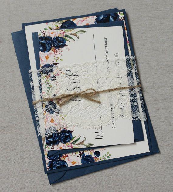 Navy and blush Floral Boho Wedding Invitation by LoveofCreating