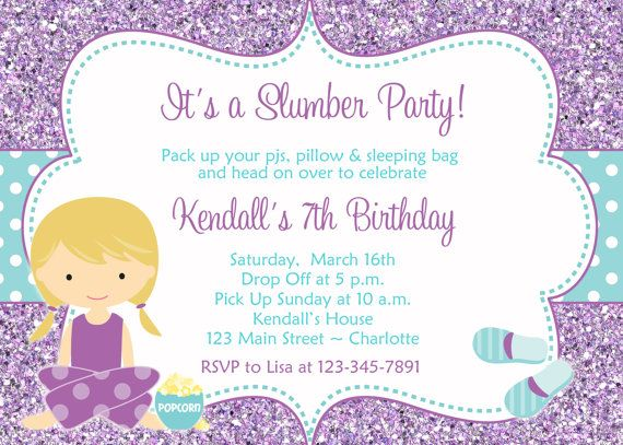 86 best images about Pretty Pajama Party – Cute Slumber Party Invitations