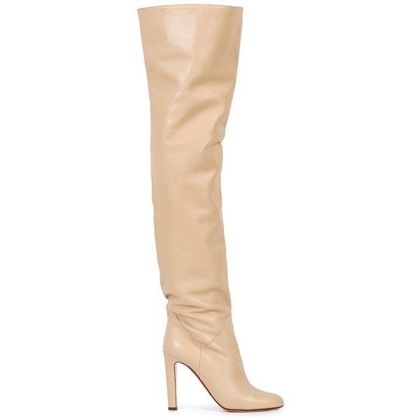 Francesco Russo Cream Leather Over-the-knee Boots - Size 3 (€1.550) ❤ liked on Polyvore featuring shoes, boots, leather boots, high heel boots, thigh high boots, leather over the knee high heel boots and thigh high heel boots