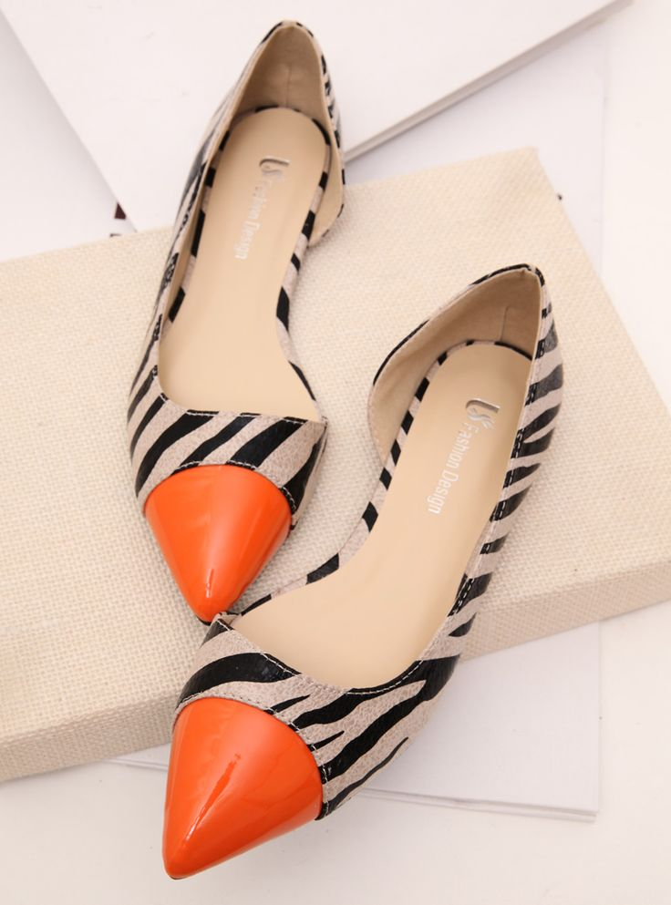 British sense of modern elegance feminine side collision color stitching empty zebra pointed flat shoes shoes shoes