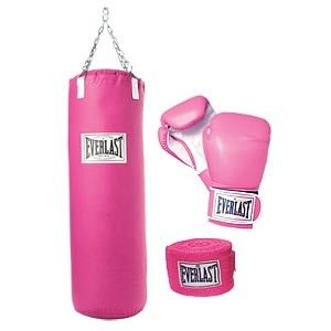 pink boxing gloves and punching bag :)