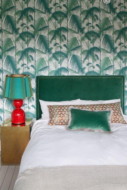 Bedroom Interiordesign by Evelijn Ferwerda, Cole and Son palm wallpaper