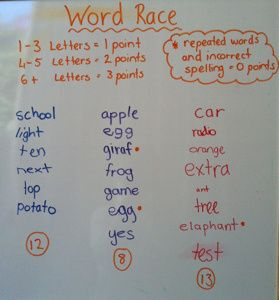 Word race. In teams students write a word, then the next student writes a different word that starts with the last letter of the word written before.