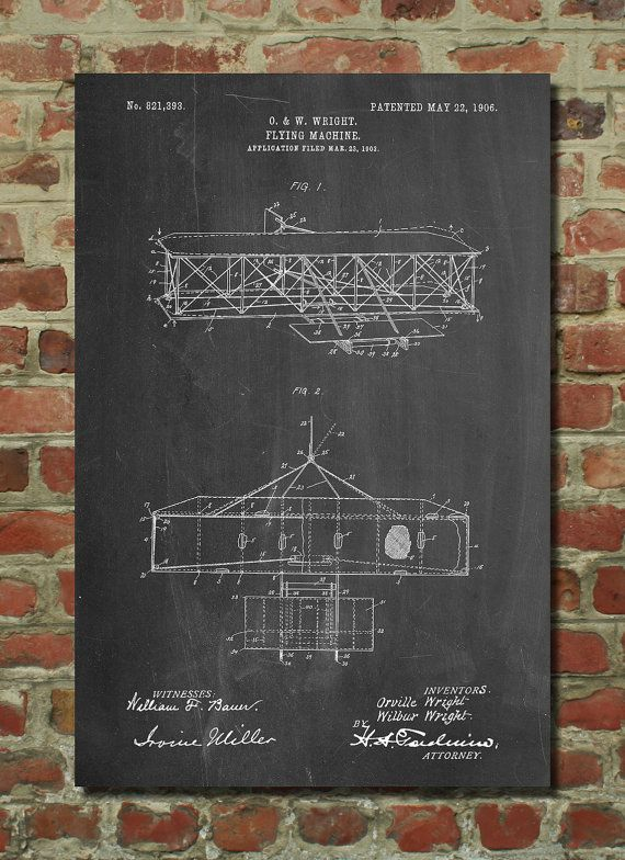 Wright Brother's Airplane Poster Wright Brother's by PatentPrints