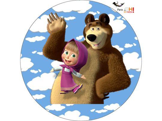 Поздравления, картинка маша и медведь круглая