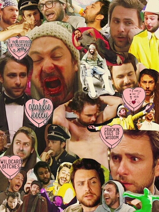 A perfect collage of Charlie Kelly disguises all rolled into... one amazingly perfect collage