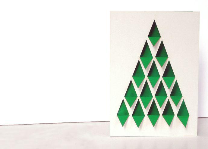 Carte Sapin en papier découpé