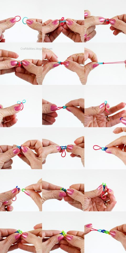 Single pattern rubber band bracelet or necklace without for Rubber band crafts without loom