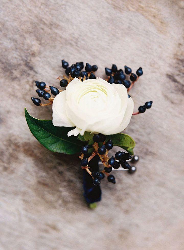 Prettiest white garden rose with dark blue berries wrapped in navy blue velvet