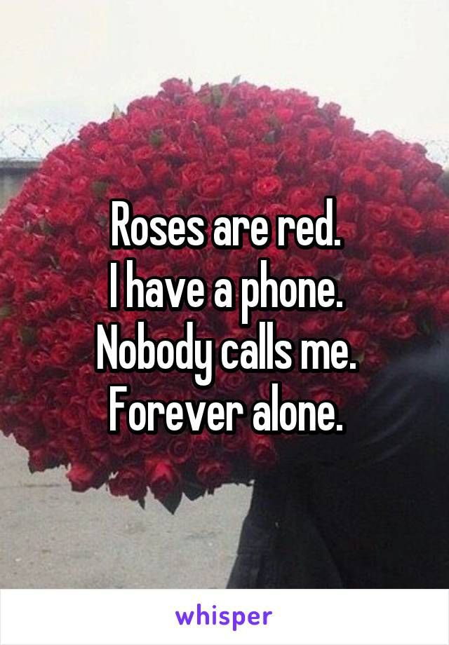 Roses are red. I have a phone. Nobody calls me. Forever alone.