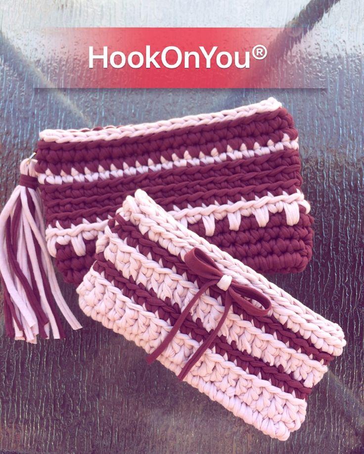 Yarn yarn yarn is never enough  Gorgeous colors T-shirt cotton yarn!!! Lovely bags  For purchase/info contact me  #hookonyou #handmade #tshirtyarn #crochetclutchbag #welovepink