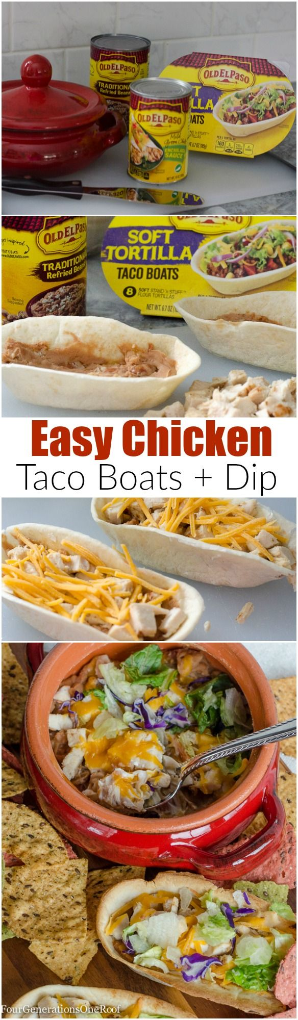 Mexican Chicken Taco Boats dip. Quick and easy recipe that is done in 8 minutes with a 10 minute prep time. Perfect for game day!