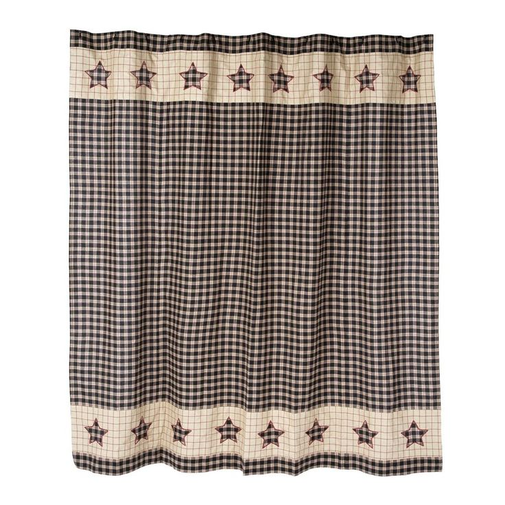 New Primitive Tan Red BLACK STAR Homespun Check Plaid Shower Curtain #CountryHouse #Country