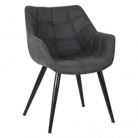 Deze eetkamerstoel is gemaakt van hout en suède en heeft een zwarte kleur. De stoel is 80 cm hoog, 60 cm breed en 65 cm diep.