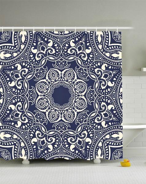 Lotus Flower Mandala Boho Navy Fabric Shower Curtain