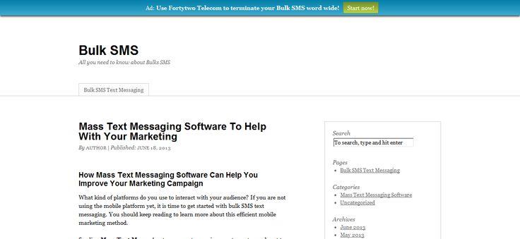 Interesting read about bulk sms at >> bulk sms --> http://bulksms.ms