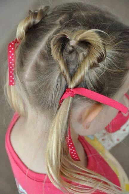 Cute heart hair style for little girls