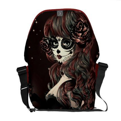 Day of the Dead Mexican Sugar Skull Girl Brown Courier Bag - glam gifts unique diy special glamour