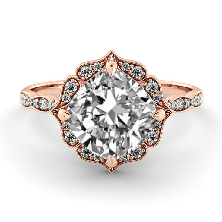 1.00 CT Natural Vintage VS GIA Certified Diamond Halo Flower Engagement Ring 14k Rose Gold Large Natural Diamond Ring by DiamondsMine on Etsy https://www.etsy.com/listing/252614928/100-ct-natural-vintage-vs-gia-certified