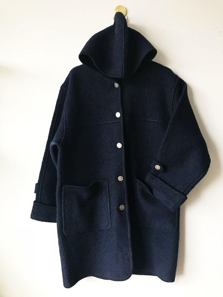 Navy Hooded Wool Coat