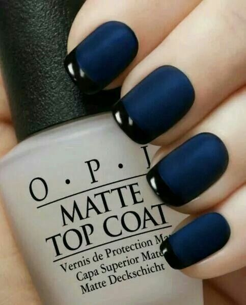 Navy blue matte nails with shiny black french tip design