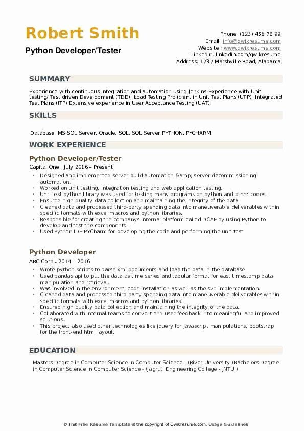 Software Testing Resume 5 Years Experience Lovely Python Developer Resume Samples In 2020 Software Testing Resume Project Manager Resume