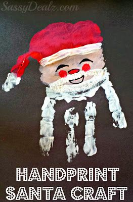 Santa Claus Handprint Christmas Craft For Kids #Paint art project | CraftyMorning.com
