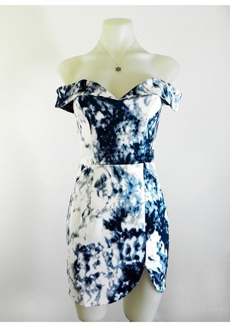 Cocktail Races Party or Date Night Off the Shoulder Water Colour Mini Dress
