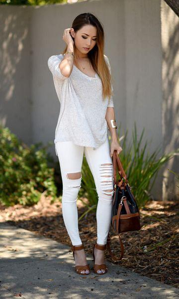 Look: Jeans Branco Rasgado