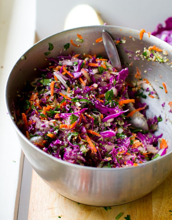 Rainbow Slaw with Sweet Tahini Dressing - Healthy. Happy. Life.