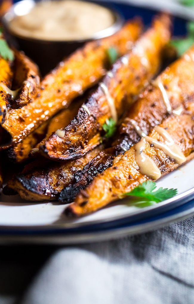 Side Dish Recipe: Maple Tahini Grilled Sweet Potatoes #vegan #recipes #healthy #plantbased #glutenfree #whatveganseat #sidedish:
