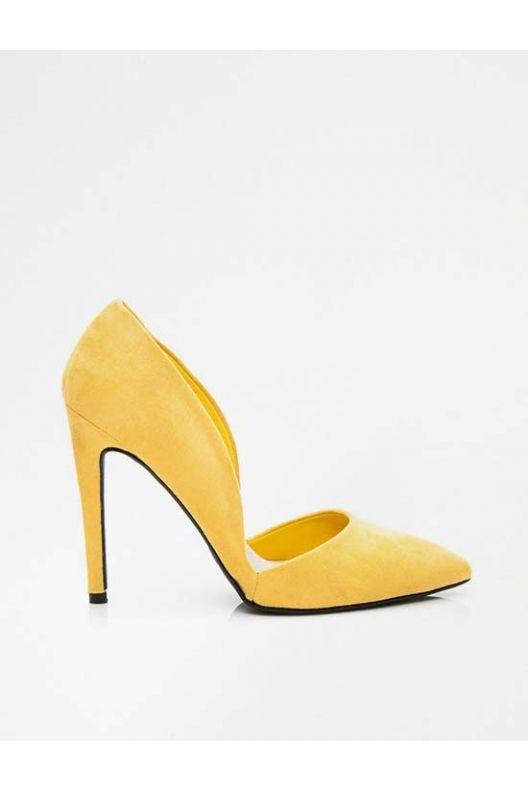 Asymetryczne szpilki żółte