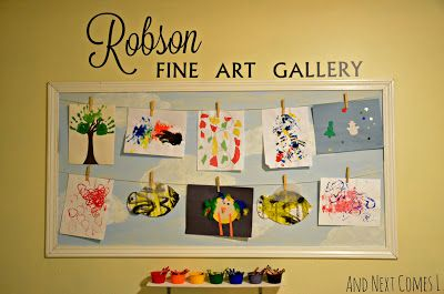 Create a fun children's fine art gallery in your playroom to display your children's artwork from And Next Comes L