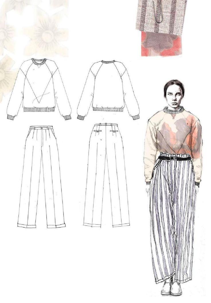 follow me @cushite Fashion Sketchbook - fashion illustration & flat drawings; fashion portfolio // Emma Berry