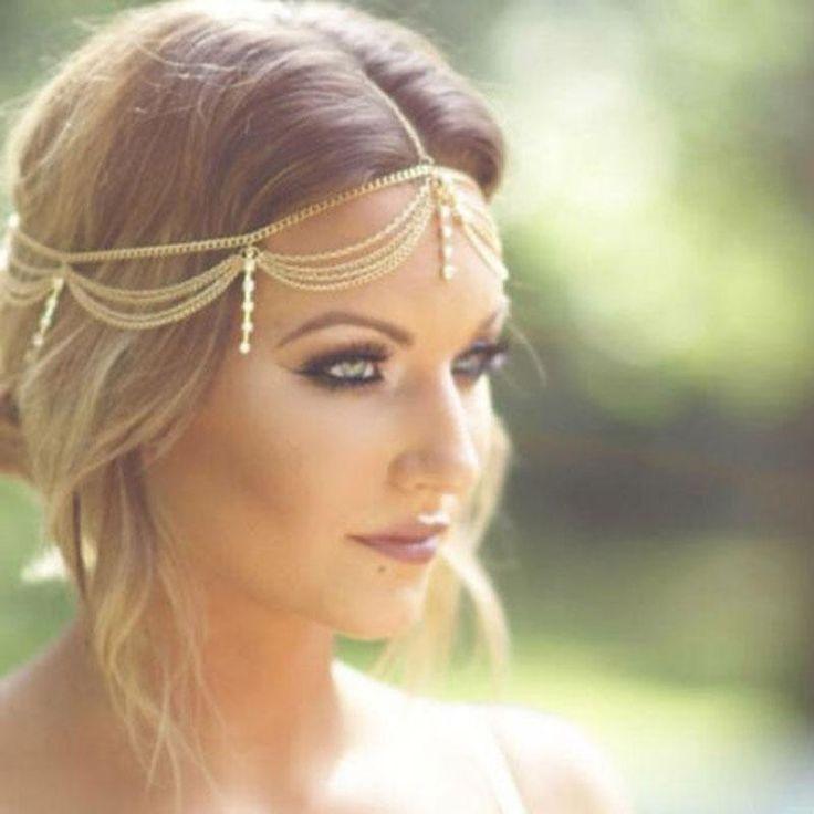 Boho Gold drapieren Kristall Haar Manschette arabische Braut Haarschmuck Hochzeit Kette Kopfschmuck Bijoux elegante Hochzeitsfrisuren