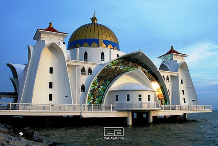 Floating Masjid Melaka , or Malacca Straits Mosque (Malaysia)  The Malacca Straits Mosque is a mosque located on the man-made Malacca Island near Malacca Town in Malacca state, Malaysia. It looks like a floating structure if the water level is high. Construction cost of the mosque is about MYR10 million . The Opening Ceremony was done in 24 November 2006 by the Supreme Ruler of Malaysia (Yang di-Pertuan Agong) Tuanku Syed Sirajuddin Syed Putra Jamalullail.