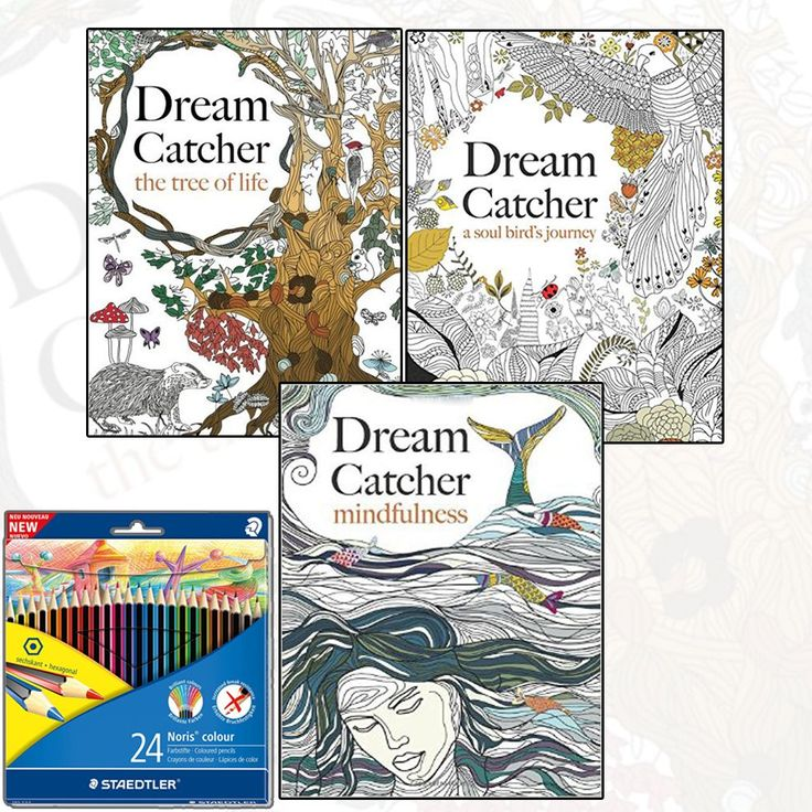 Dream Catcher Anti Stress Relaxing Adult Colouring 3 Book Collection Pencils At Best Price